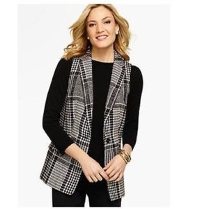 Talbots houndstooth wool collared vest